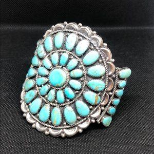 Native American signed JWMS turquoise bracelet